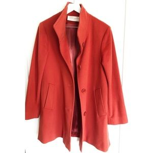 Fleurette Red Wool Stand Collar Car Coat - 4